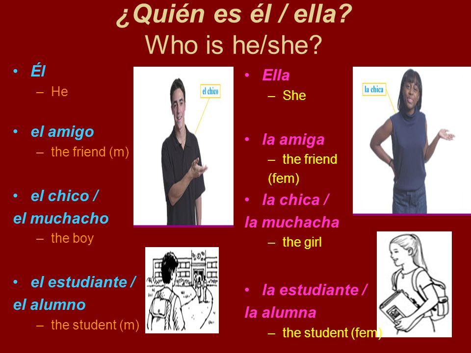 ¿Quién es él / ella? Who is he/she? Él –He el amigo –the friend (m) el chico / el muchacho –the boy el estudiante / el alumno –the student (m) Ella –S