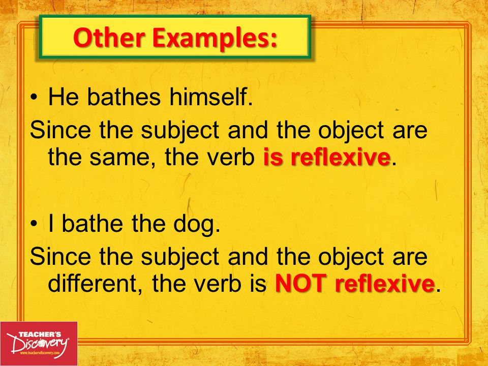 + article of clothing – to put on + article of clothing – to take off + article of clothing – to tear + part of body – to break + part of body – to burn ponerse quitarse romperse quemarse Special-use reflexive verbs: