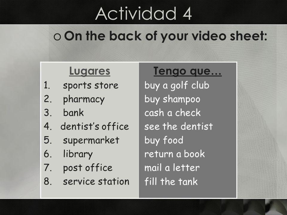 El video o Watch and complete the activities in El videohistoria