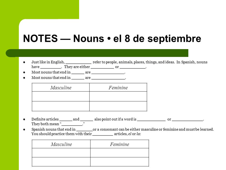 NOTES Nouns el 8 de septiembre Just like in English, __________ refer to people, animals, places, things, and ideas.
