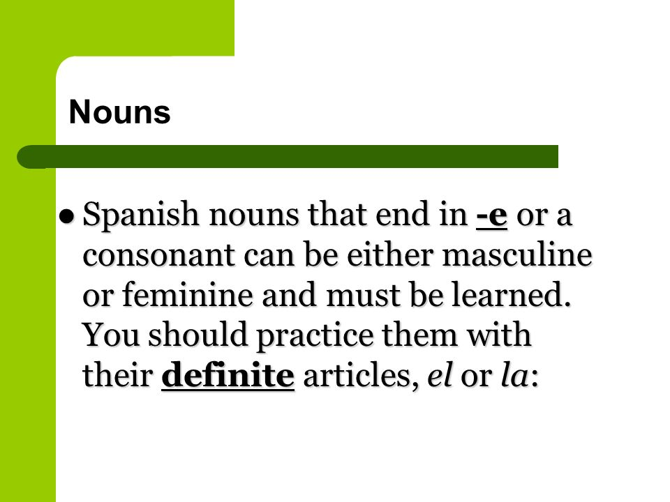 Nouns Spanish nouns that end in -e or a consonant can be either masculine or feminine and must be learned.