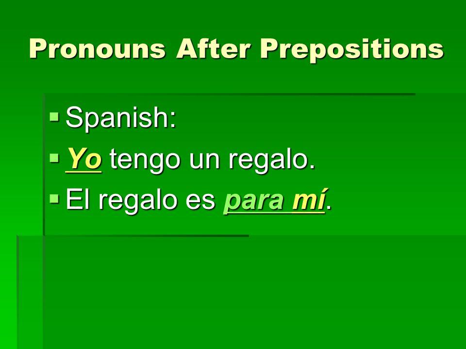 Pronouns After Prepositions No voy con él; voy contigo.