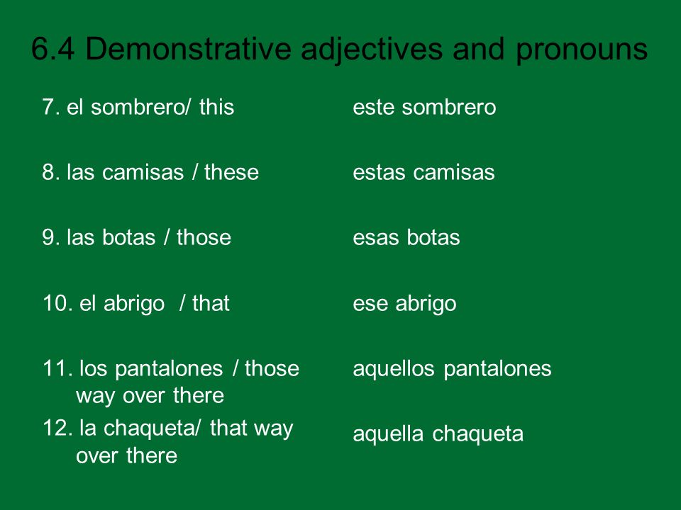 6.4 Demonstrative adjectives and pronouns 7.el sombrero/ this 8.