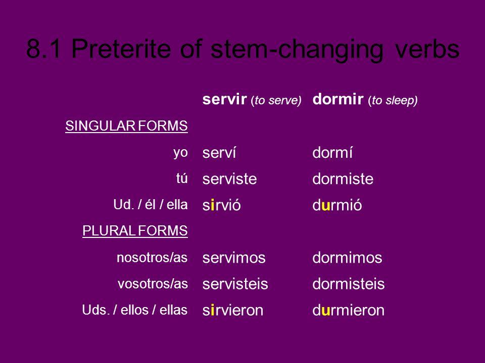 8.1 Preterite of stem-changing verbs servir (to serve) dormir (to sleep) SINGULAR FORMS yo servídormí tú servistedormiste Ud. / él / ella sirviódurmió