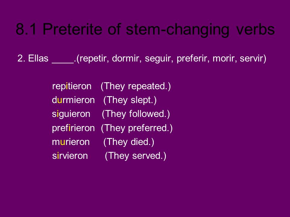 8.1 Preterite of stem-changing verbs 2. Ellas ____.(repetir, dormir, seguir, preferir, morir, servir) repitieron (They repeated.) durmieron (They slep