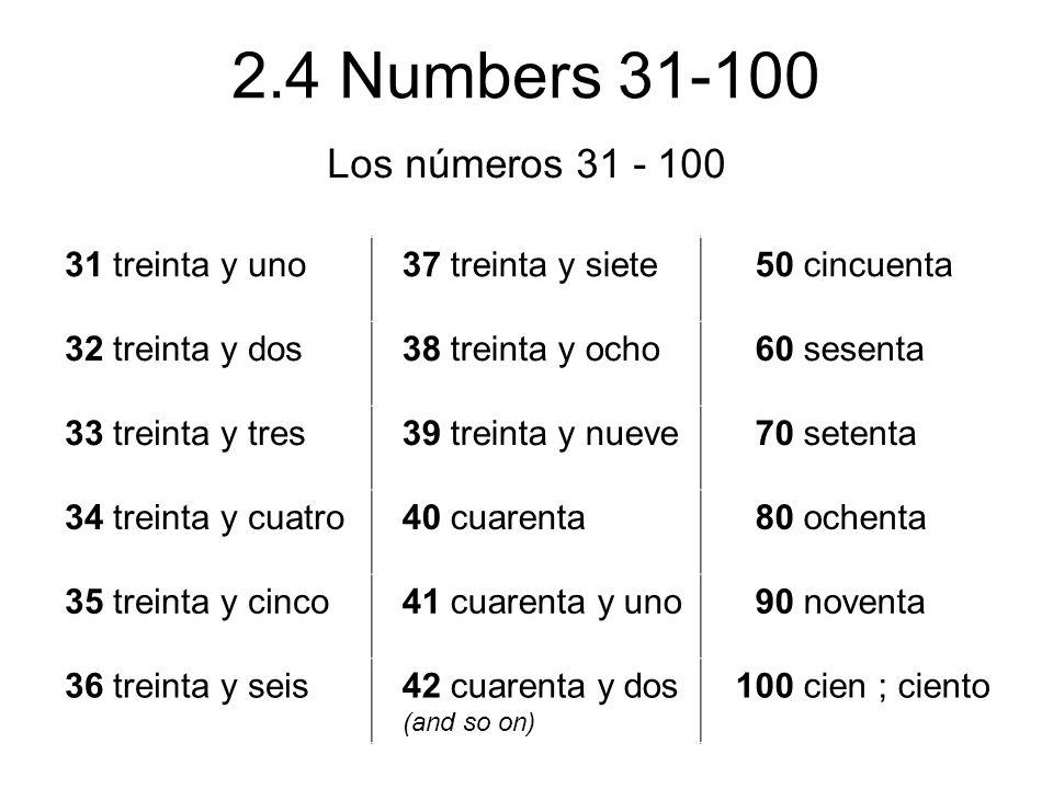2.4 Numbers 31-100 Los números 31 - 100 31 treinta y uno 37 treinta y siete 50 cincuenta 32 treinta y dos 38 treinta y ocho 60 sesenta 33 treinta y tr