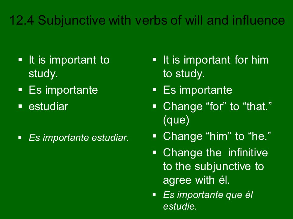 12.4 Subjunctive with verbs of will and influence It is important to study. Es importante estudiar Es importante estudiar. It is important for him to