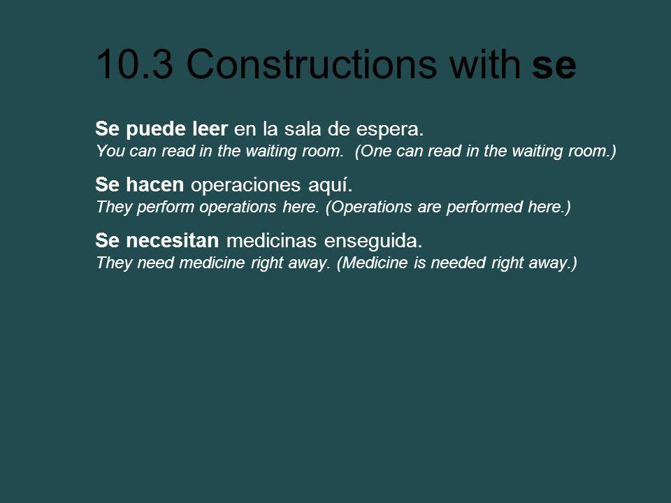 10.3 Constructions with se Se puede leer en la sala de espera. You can read in the waiting room. (One can read in the waiting room.) Se hacen operacio
