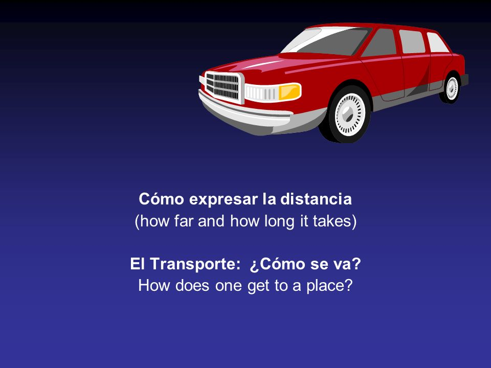 Cómo expresar la distancia (how far and how long it takes) El Transporte: ¿Cómo se va.