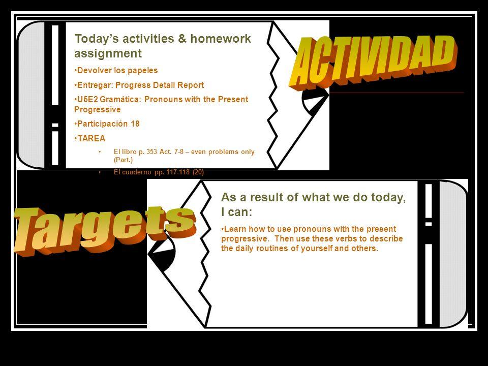 Todays activities & homework assignment Devolver los papeles Entregar: Progress Detail Report U5E2 Gramática: Pronouns with the Present Progressive Pa