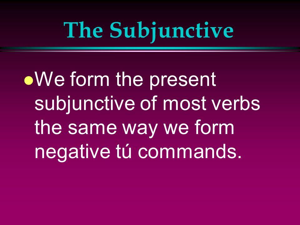 The Subjunctive l Verbs that are often followed by que + subjunctive: l Decir l Insistir en l Necesitar l Permitir l Preferir (e > ie) l Prohibir l Qu
