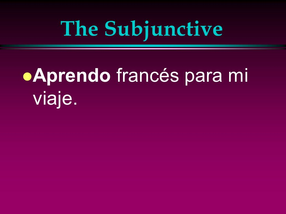 Irregular Subjunctive Verbs l As in negative commands, irregular verbs that add ag to the stem in the present-tense yo form also have a g in the present subjunctive.