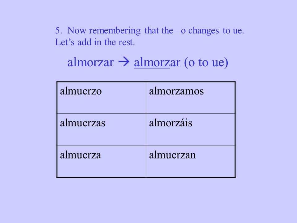 3. Now since its an –ar verb we can add in the –as where they belong o a as a a an almorzar o ue 4. Underline the root almorzar