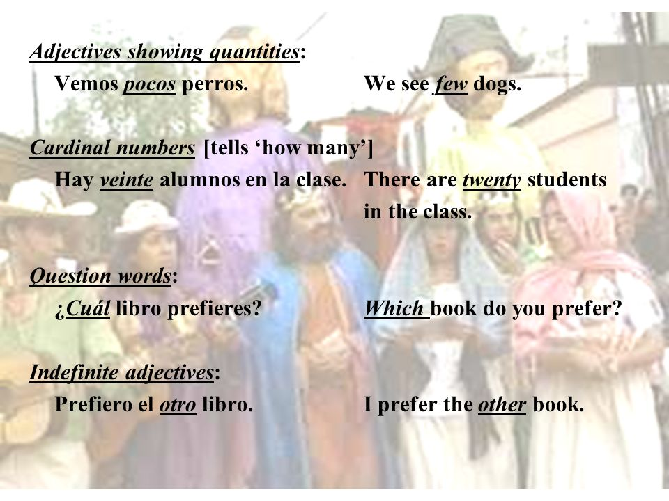 Adjectives showing quantities: Vemos pocos perros.We see few dogs. Cardinal numbers [tells how many] Hay veinte alumnos en la clase. There are twenty