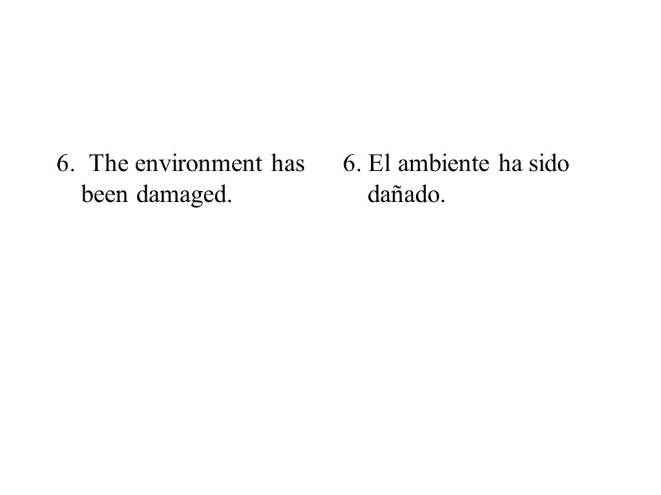 6. The environment has been damaged. 6. El ambiente ha sido dañado.