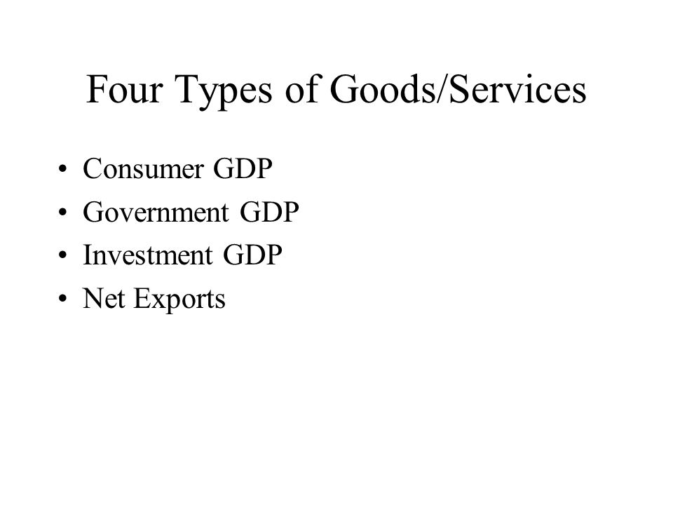 Four Types of Goods/Services Consumer GDP Government GDP Investment GDP Net Exports
