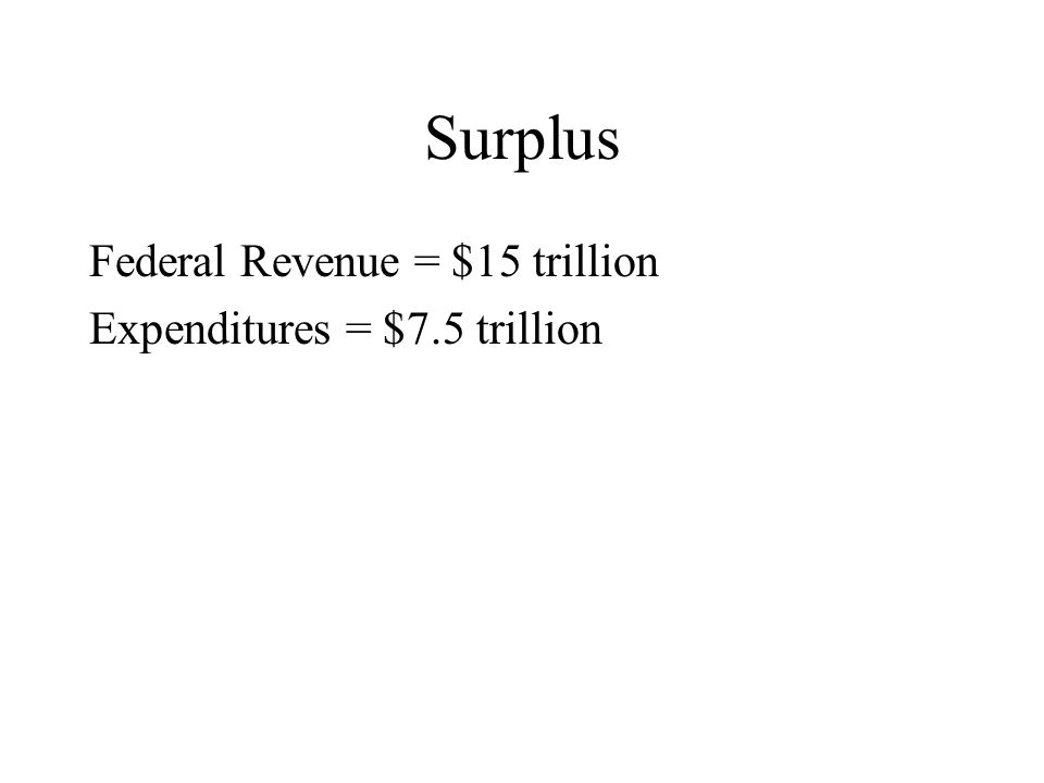 Surplus Federal Revenue = $15 trillion Expenditures = $7.5 trillion