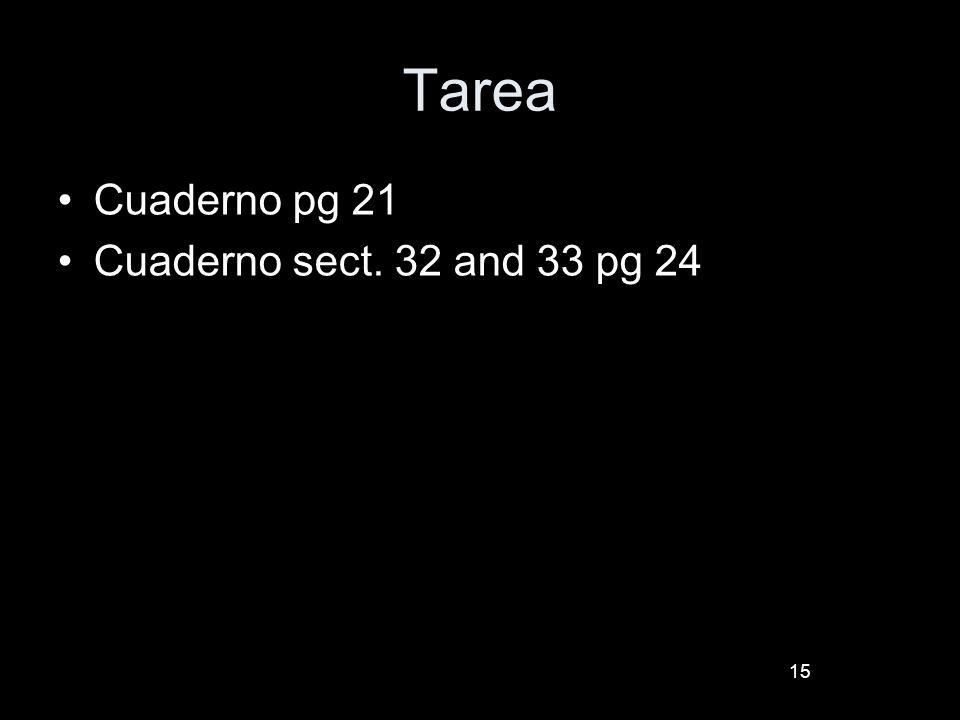 15 Tarea Cuaderno pg 21 Cuaderno sect. 32 and 33 pg 24
