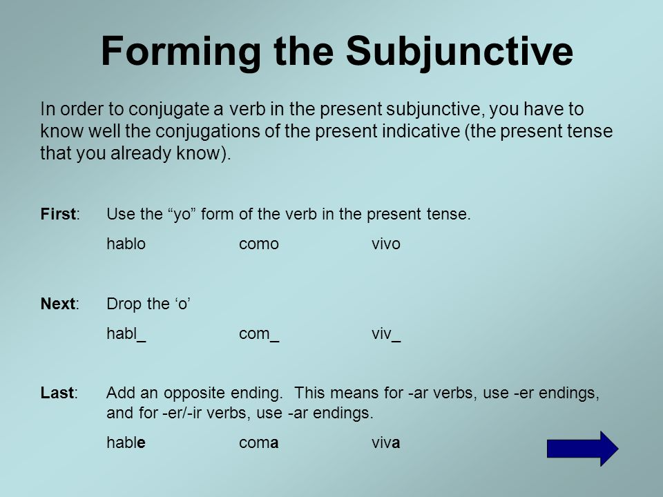 Forming the Subjunctive Verb Formation Menu The Basics Stem Changing Verbs Irregular Verbs Spelling Changes Home