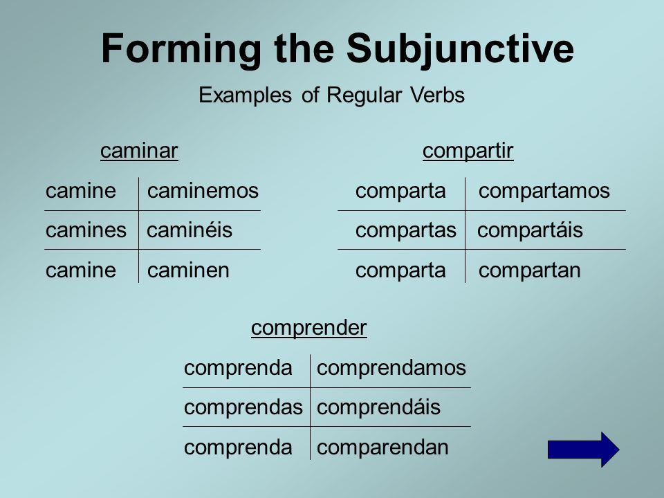 Forming the Subjunctive Subjunctive Verb Endings -ar Verbs -e-emos -es-éis -e-en -er Verbs -a-amos -as-áis -a-an -ir Verbs -a-amos -as-áis -a-an