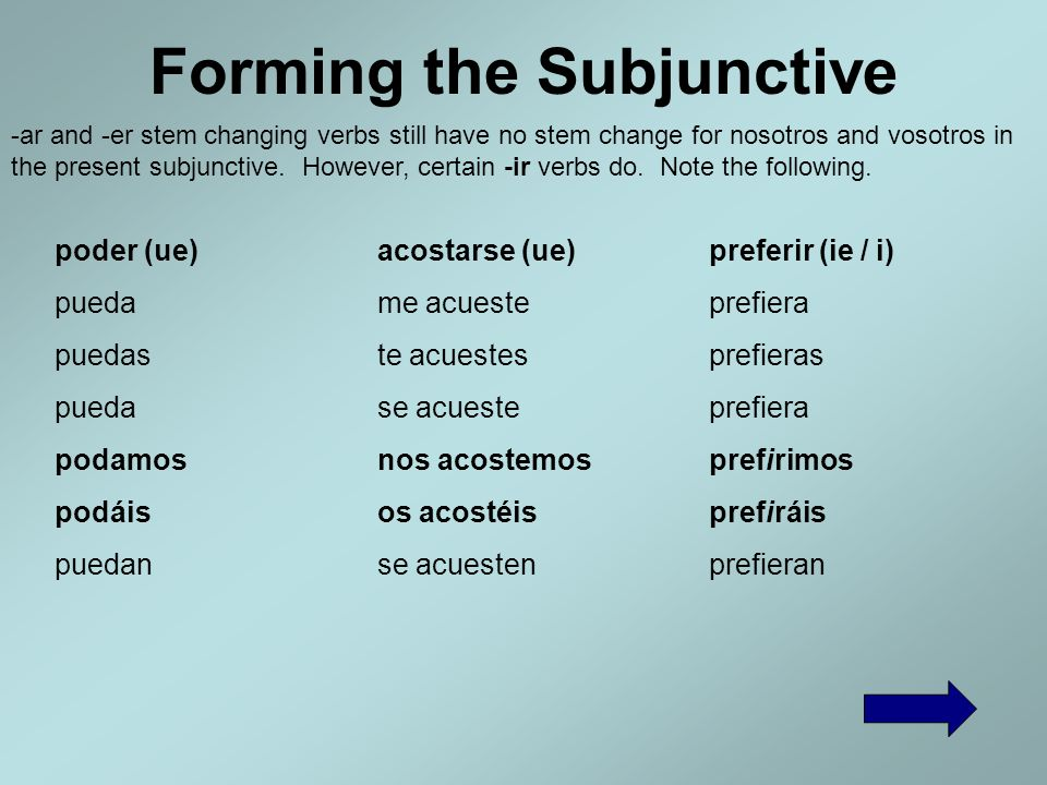 Forming the Subjunctive It doesnt really mater what the yo form of the present is. If there is a stem change or other spelling change in it, the chang