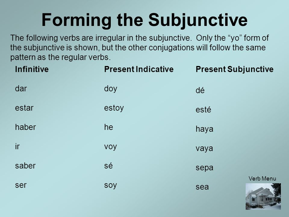 Forming the Subjunctive Spelling Changes for Pronunciation The problem with -zar verbs is that the letters ze are never combined in Spanish. Whenever