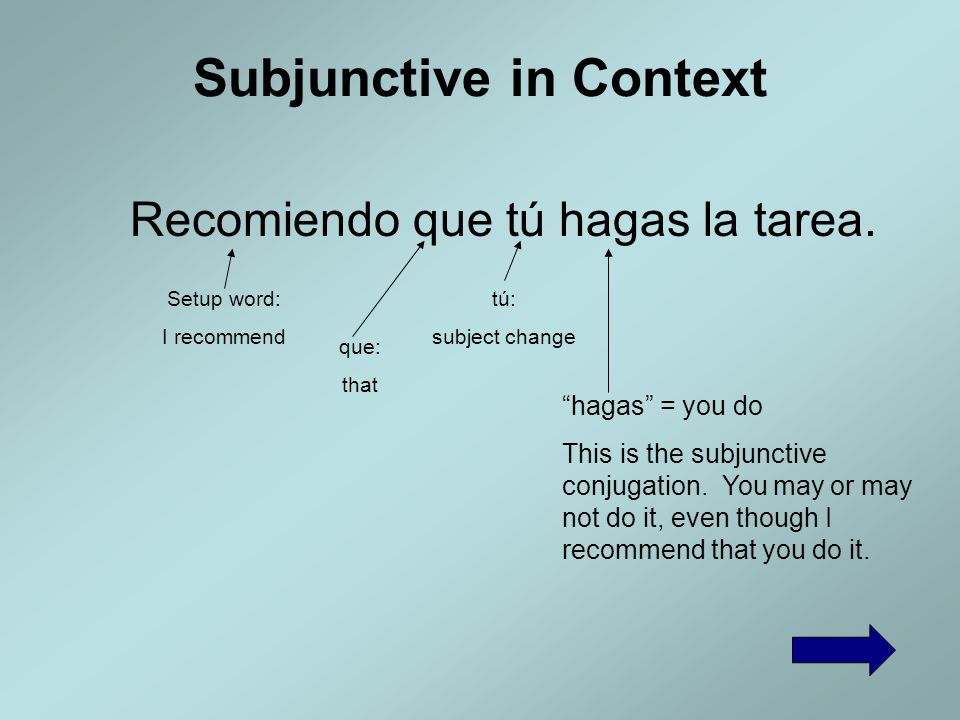 Subjunctive in Context Sugerimos que ellos duerman más. Setup word: we suggest que: that ellos: subject change duerman = they sleep This is the subjun