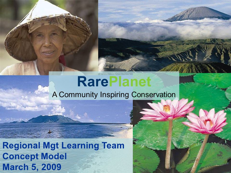 RarePlanet A Community Inspiring Conservation Regional Mgt Learning Team Concept Model March 5, 2009
