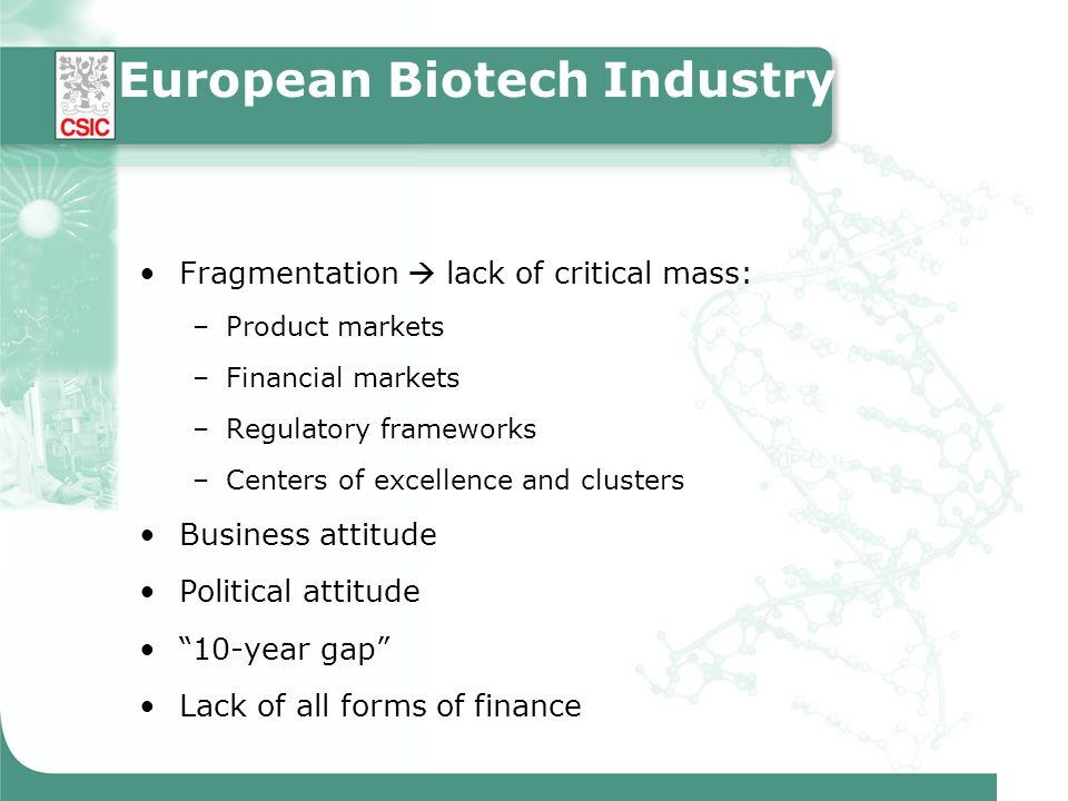 European Biotech Industry Fragmentation lack of critical mass: –Product markets –Financial markets –Regulatory frameworks –Centers of excellence and c