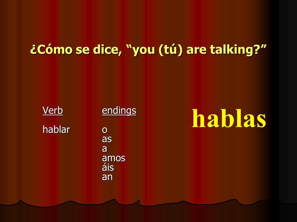 ¿Cómo se dice,I am talking? VerbEndings hablaro asaamosáisan hablo