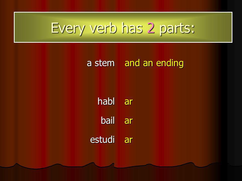 When you remove the ending, the part that remains is called the stem. hablbailestudiararar