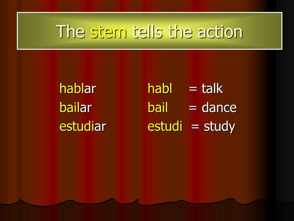 AR Hablar Bailar Estudiar ER Leer Comer Aprender IR Escribir Vivir Permitir There are 3 types of verbs in Spanish: AR, ER & IR The AR, ER, or IR tells us which endings to use when conjugating.