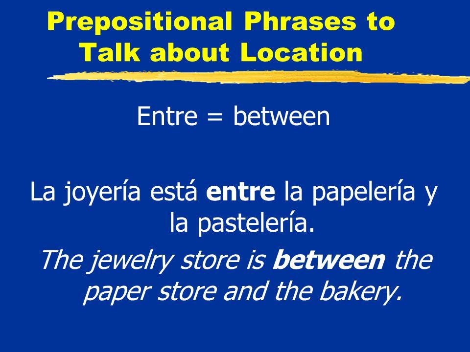 Prepositional Phrases to Talk about Location Entre = between La joyería está entre la papelería y la pastelería.