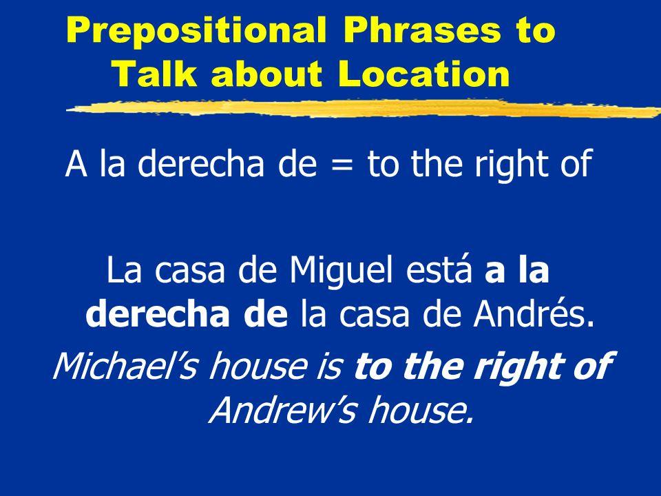 Prepositional Phrases to Talk about Location A la derecha de = to the right of La casa de Miguel está a la derecha de la casa de Andrés.