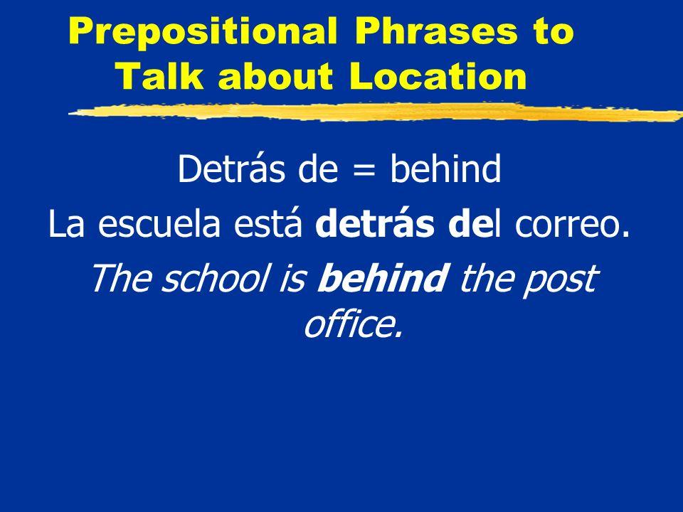 Prepositional Phrases to Talk about Location Detrás de = behind La escuela está detrás del correo.