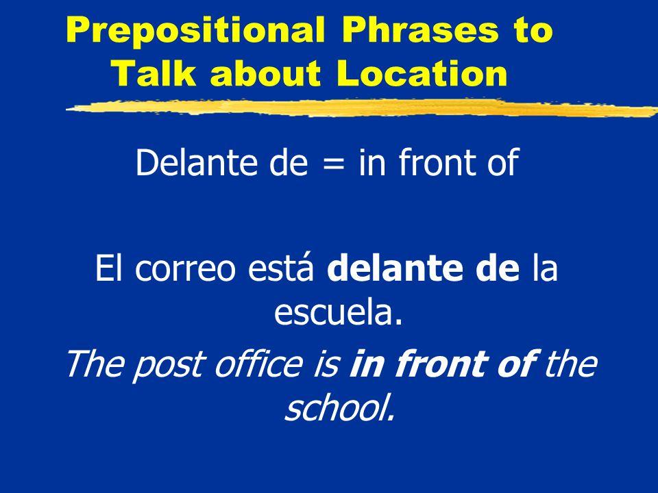Prepositional Phrases to Talk about Location Delante de = in front of El correo está delante de la escuela.