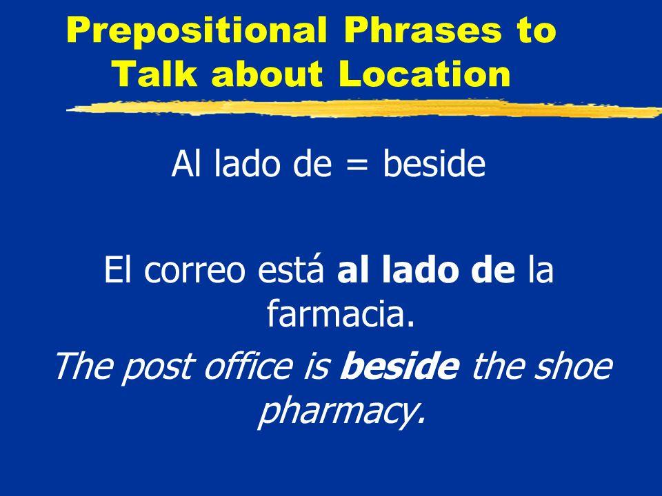 Prepositional Phrases to Talk about Location Al lado de = beside El correo está al lado de la farmacia.