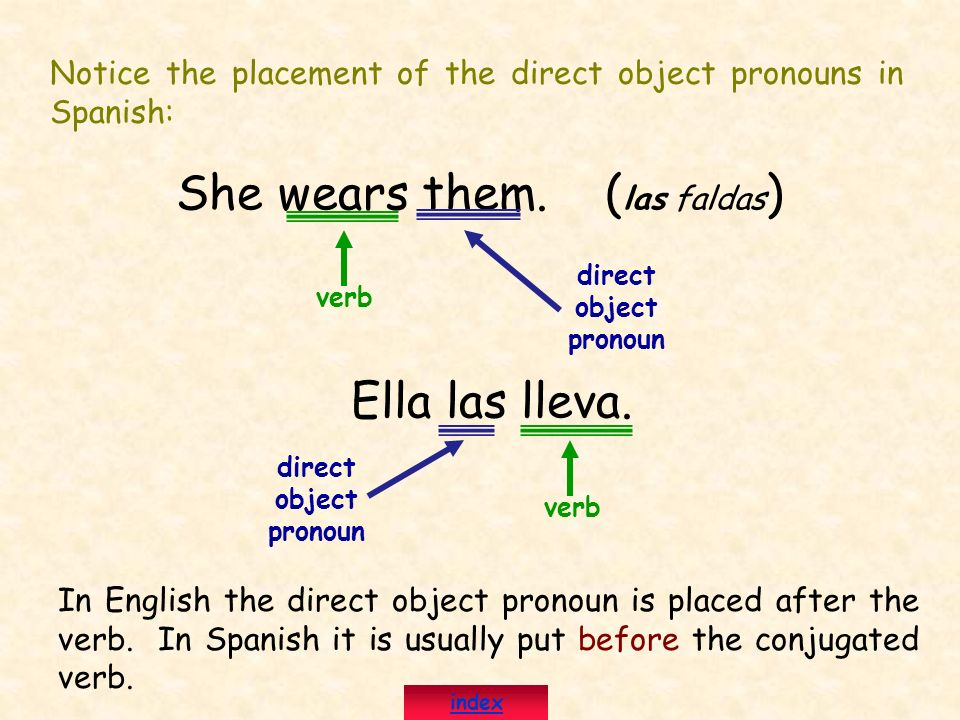 Notice the placement of the direct object pronouns in Spanish: She wears them. ( las faldas ) direct object pronoun Ella las lleva. direct object pron