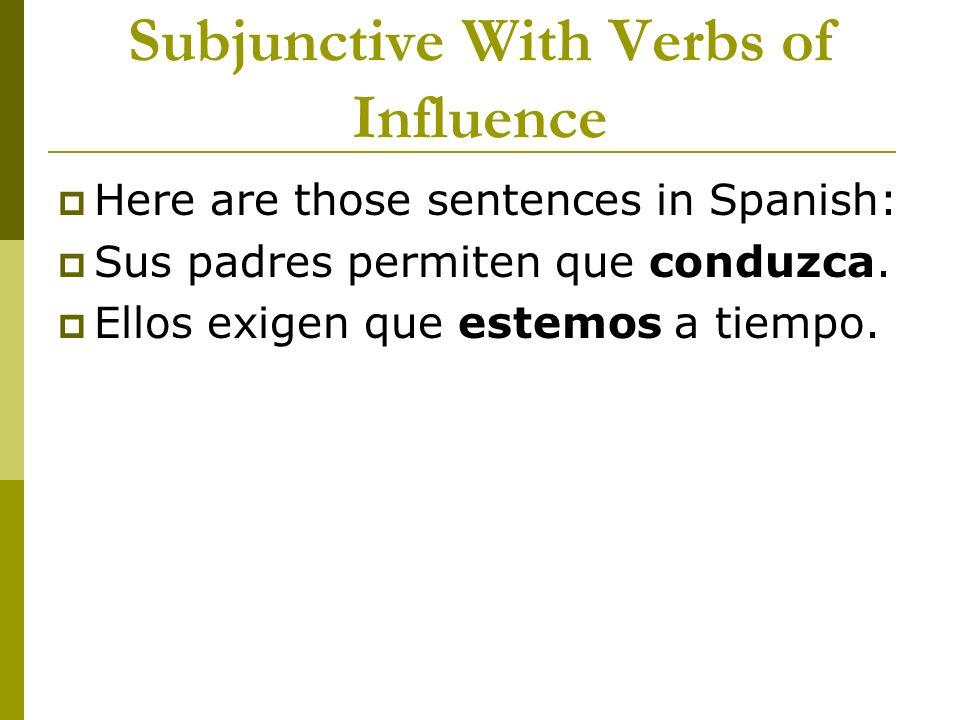 Subjunctive With Verbs of Influence Here are those sentences in Spanish: Sus padres permiten que conduzca. Ellos exigen que estemos a tiempo.