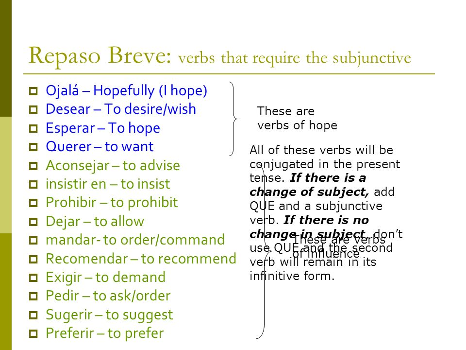 Repaso Breve: verbs that require the subjunctive Ojalá – Hopefully (I hope) Desear – To desire/wish Esperar – To hope Querer – to want Aconsejar – to