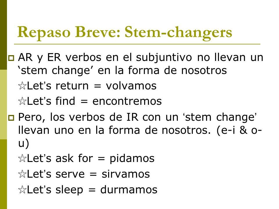 Repaso Breve: Stem-changers AR y ER verbos en el subjuntivo no llevan un stem change en la forma de nosotros Let s return = volvamos Let s find = enco