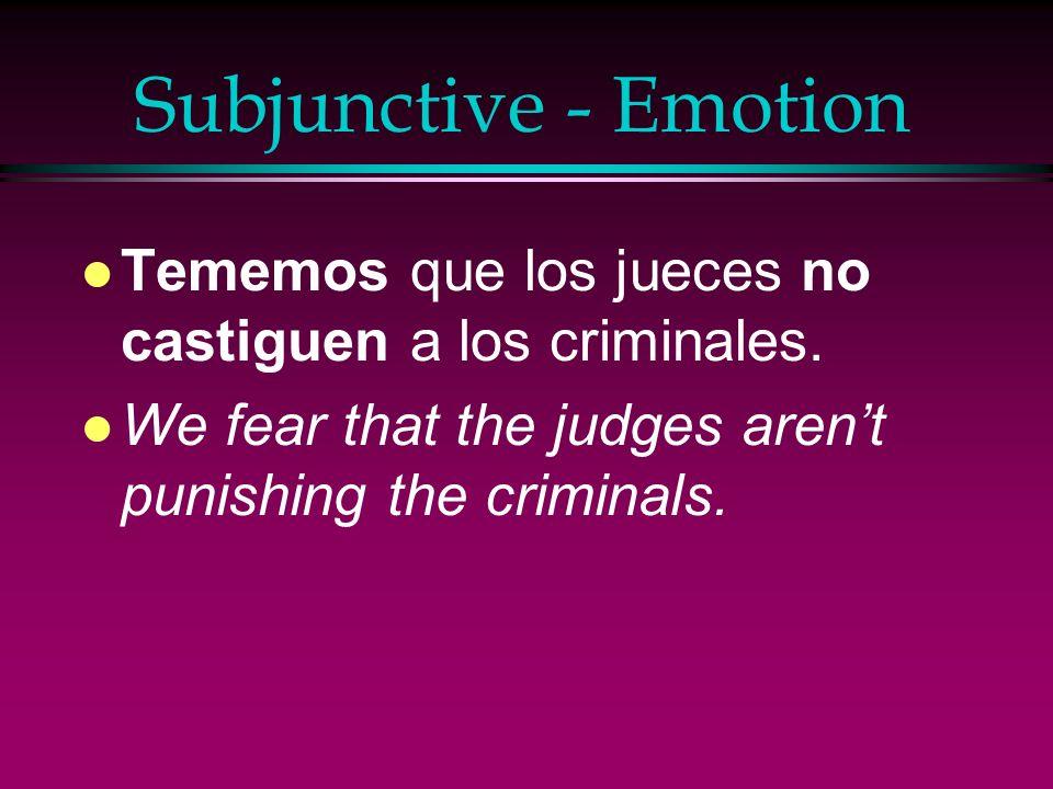 Subjunctive - Emotion l Alegrarse (de) l Encantar l Enojarse/Estar enojado l Es una lástima l Es sorprendente l Es triste l Estar contento(a) l Estar