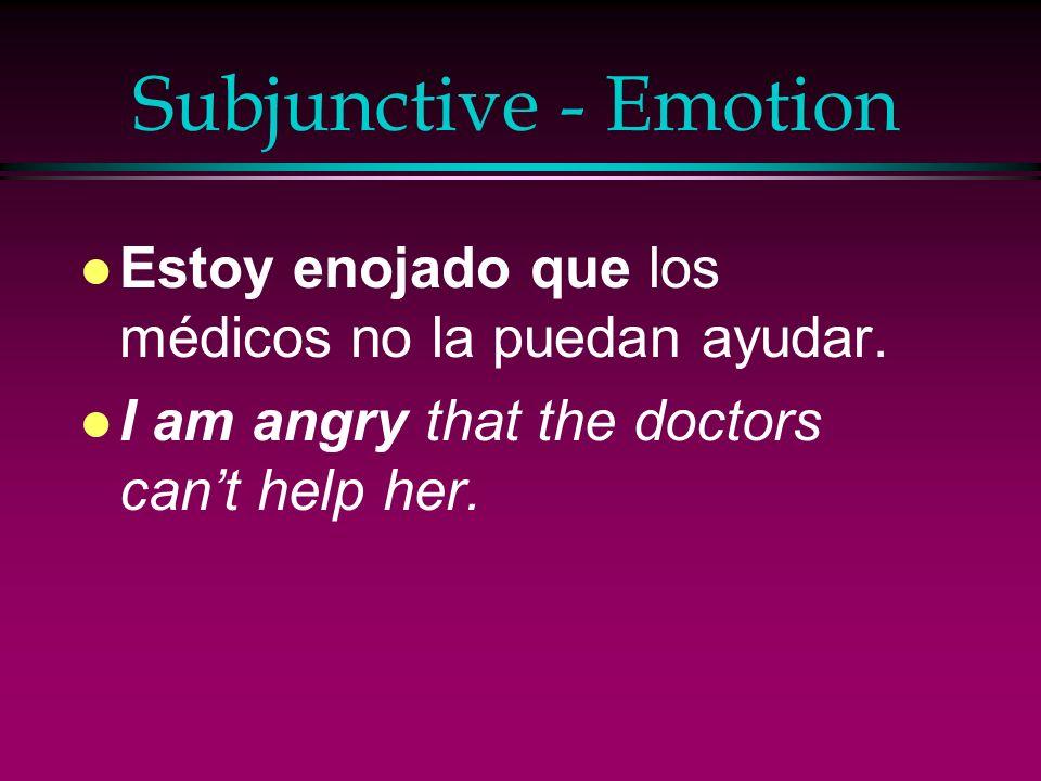 Subjunctive - Emotion l Sentimos que la víctima del accidente esté todavía en el hospital. l We feel that the victim of the accident is still in the h