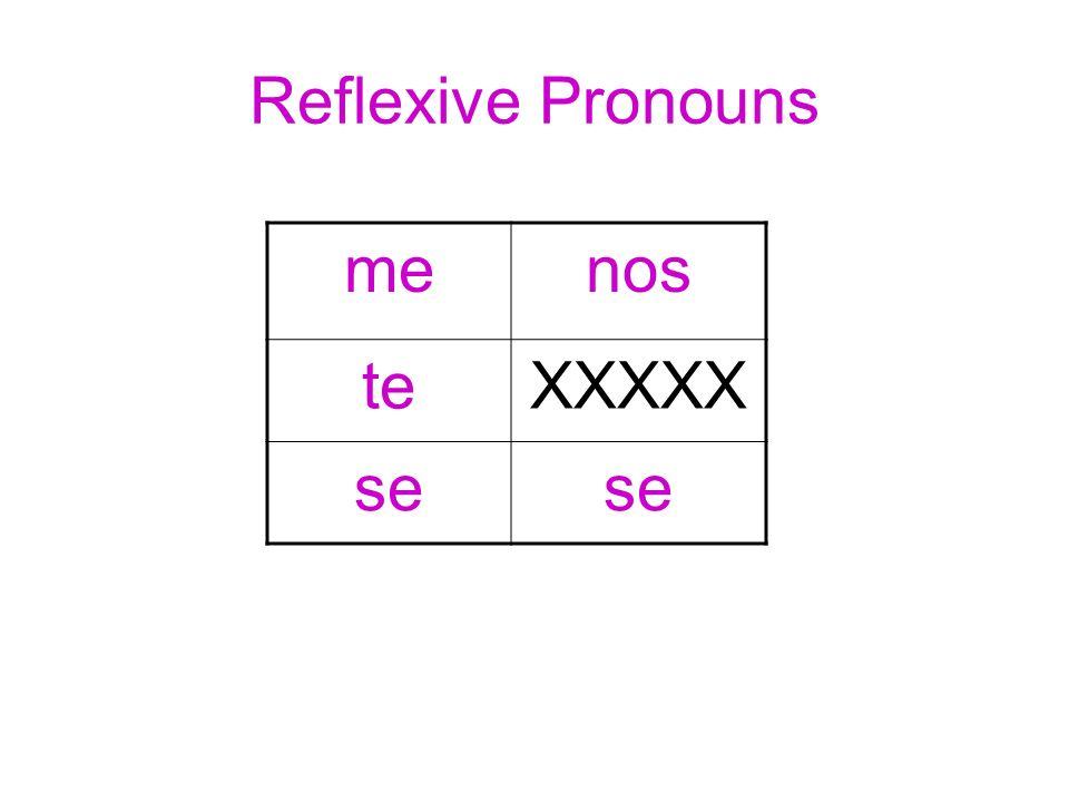 Reflexive Pronouns menos teXXXXX se