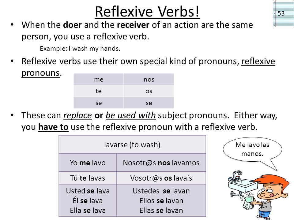 Reflexive Verbs! When the doer and the receiver of an action are the same person, you use a reflexive verb. Example: I wash my hands. Reflexive verbs