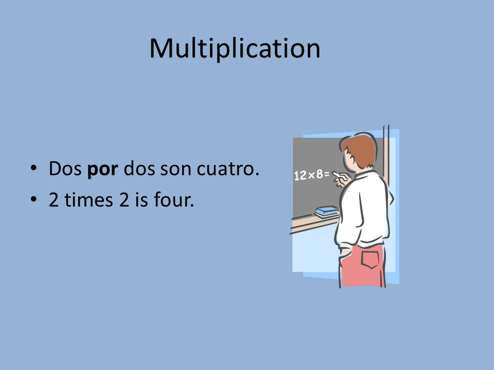 Multiplication Dos por dos son cuatro. 2 times 2 is four.
