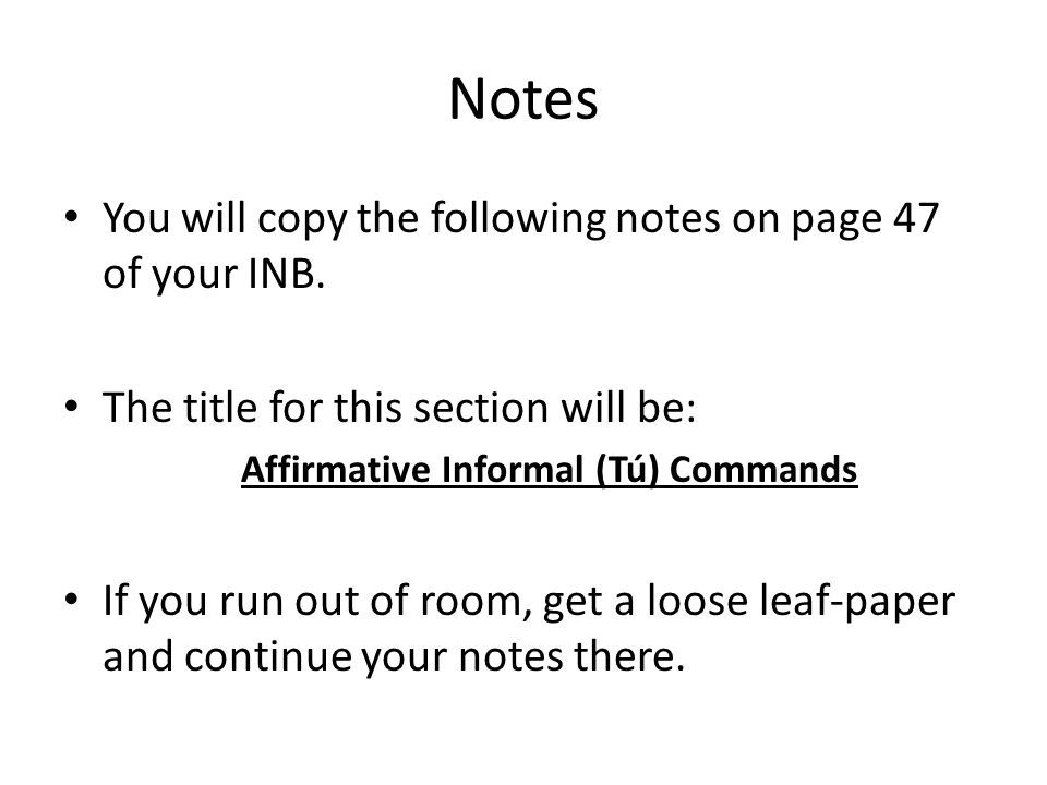 Notes You will copy the following notes on page 49 of your INB.
