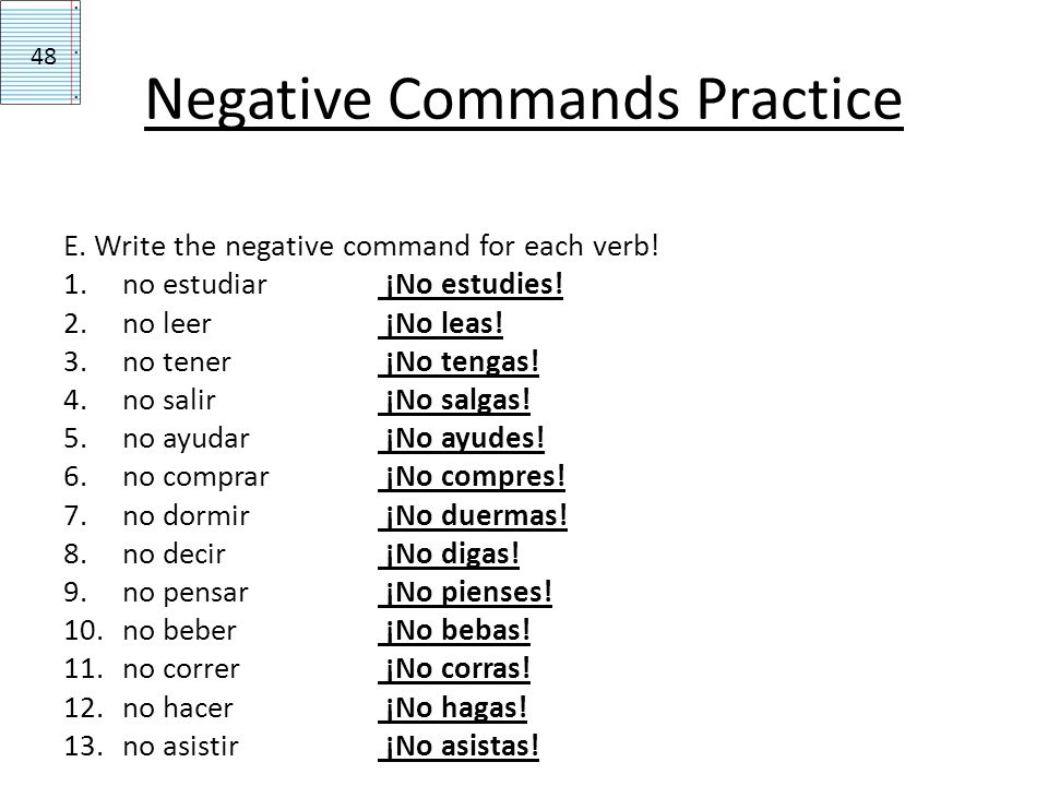 Ser Negative Tu Command Form