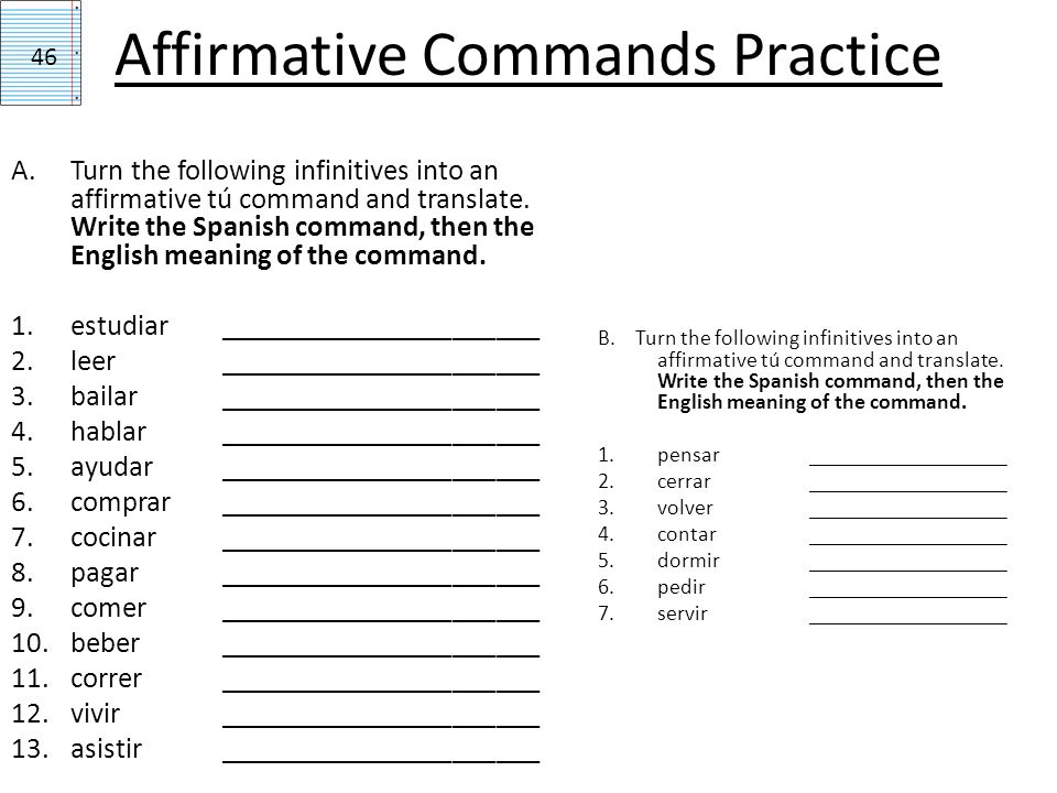 Negative Commands Practice D.