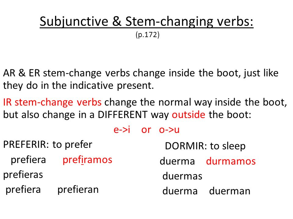 IR stem-change verbs change the normal way inside the boot, but also change in a DIFFERENT way outside the boot: e->i or o->u PREFERIR: to prefer pref